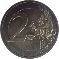 reverse of 2 Euro - Stork (2015) coin with KM# 171 from Latvia. Inscription: 2 EURO LL