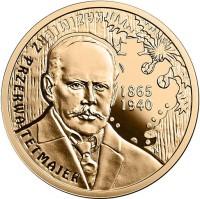 reverse of 200 Złotych - 150th Anniversary of the Birth of Kazimierz Przerwa-Tetmajer (2015) coin with Y# 936 from Poland. Inscription: KAZIMIERZ PRZERWA-TETMAJER 1865 1940