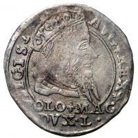 obverse of 1 Grossus - Sigismund II Augustus (1546 - 1568) coin from Lithuania. Inscription: SIGIS. .AVG. REX POLO. MAG .DVX. L
