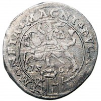 reverse of 1 Grossus - Sigismund II Augustus (1546 - 1568) coin from Lithuania. Inscription: MONETA. MAGNI. DVCA. LIT 15 67 SA