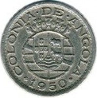 obverse of 50 Centavos - 300th Anniversary of Revolution of 1648 (1948 - 1950) coin with KM# 72 from Angola. Inscription: COLONIA · DE · ANGOLA · 1950 ·