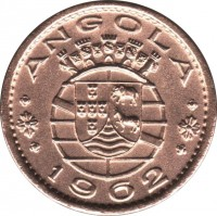 obverse of 20 Centavos (1962) coin with KM# 78 from Angola. Inscription: ANGOLA 1962
