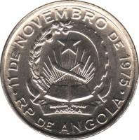 obverse of 50 Lwei (1977 - 1979) coin with KM# 90 from Angola. Inscription: 11 DE NOVEMBRO DE 1975 Republica Popular De ANGOLA RP DE ANGOLA