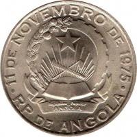 obverse of 5 Kwanzas (1977) coin with KM# 85 from Angola. Inscription: 11 DE NOVEMBRO DE 1975 Republica Popular De ANGOLA RP DE ANGOLA