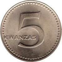 reverse of 5 Kwanzas (1977) coin with KM# 85 from Angola. Inscription: KWANZAS 5