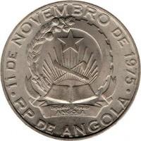 obverse of 10 Kwanzas (1977 - 1978) coin with KM# 86 from Angola. Inscription: · 11 DE NOVEMBRO DE 1975 · Republica Popular De ANGOLA RP DE ANGOLA