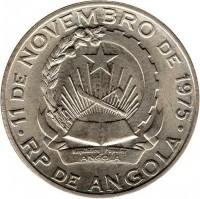 obverse of 20 Kwanzas (1978) coin with KM# 87 from Angola. Inscription: 11 DE NOVEMBRO DE 1975 Republica Popular De ANGOLA RP DE ANGOLA