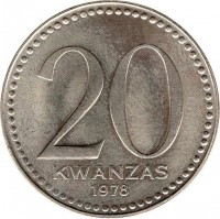 reverse of 20 Kwanzas (1978) coin with KM# 87 from Angola. Inscription: 20 KWANZAS 1978