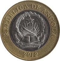 obverse of 5 Kwanzas (2012) coin with KM# 109 from Angola. Inscription: REPÚBLICA DE ANGOLA 2012