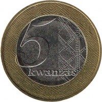 reverse of 5 Kwanzas (2012) coin with KM# 109 from Angola. Inscription: 5 kwanzas