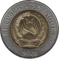 obverse of 10 Kwanzas (2012) coin with KM# 110 from Angola. Inscription: REPÚBLICA DE ANGOLA 2012