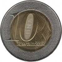 reverse of 10 Kwanzas (2012) coin with KM# 110 from Angola. Inscription: 10 kwanzas