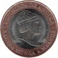 obverse of 20 Kwanzas - Queen Rainha Njinga (2014) coin with KM# 106 from Angola. Inscription: REPUBLICA DE ANGOLA 1582 1663 RAINHA NJINGA A MBANGE