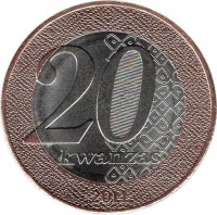 reverse of 20 Kwanzas - Queen Rainha Njinga (2014) coin with KM# 106 from Angola. Inscription: 20 Kwanzas 2014