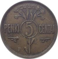 reverse of 5 Centai (1925) coin with KM# 72 from Lithuania. Inscription: PENKI 5 CENTAI