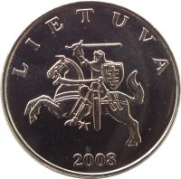 obverse of 1 Litas (1998 - 2014) coin with KM# 111 from Lithuania. Inscription: LIETUVA 2008