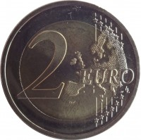 reverse of 2 Euro - Lithuanian Language (2015) coin with KM# 213 from Lithuania. Inscription: 2 EURO LL