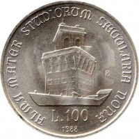reverse of 100 Lire - 900th Anniversary of the University of Bolonga (1988) coin with KM# 127 from Italy. Inscription: ALMA MATER STUDIORUM SAECULARIA NONA L 100 1988