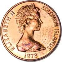 obverse of 2 Cents - Elizabeth II - 2'nd Portrait (1977 - 1983) coin with KM# 2 from Solomon Islands. Inscription: ELIZABETH II SOLOMON ISLANDS 1978