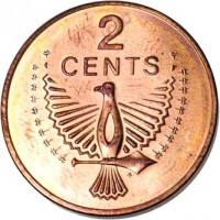 reverse of 2 Cents - Elizabeth II - 2'nd Portrait (1977 - 1983) coin with KM# 2 from Solomon Islands. Inscription: 2 CENTS