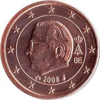 obverse of 1 Euro Cent - Albert II - 2'nd Type; 2'nd Portrait (2008) coin with KM# 274 from Belgium. Inscription: A II BE 2008