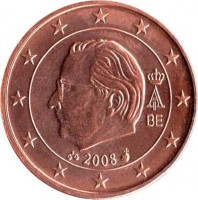 obverse of 2 Euro Cent - Albert II - 2'nd Type; 2'nd Portrait (2008) coin with KM# 275 from Belgium. Inscription: A II BE 2008