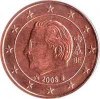 obverse of 5 Euro Cent - Albert II - 2'nd Type; 2'nd Portrait (2008) coin with KM# 276 from Belgium. Inscription: A II BE 2008
