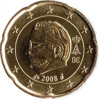 obverse of 20 Euro Cent - Albert II - 2'nd Map; 2'nd Type; 2'nd Portrait (2008) coin with KM# 278 from Belgium. Inscription: A II BE 2008