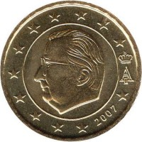 obverse of 10 Euro Cent - Albert II - 2'nd Map; 1'nd Type; 1'nd Portrait (2007) coin with KM# 242 from Belgium. Inscription: A II 2007