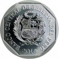 obverse of 1 Sol (2016) coin with KM# 366 from Peru. Inscription: BANCO CENTRAL DE RESERVA DEL PERU 2012