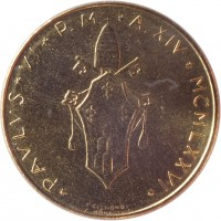 obverse of 20 Lire - Paul VI (1970 - 1977) coin with KM# 120 from Vatican City. Inscription: * PAVLVS * VI * P.M. * A.IX * MCMLXXVI *
