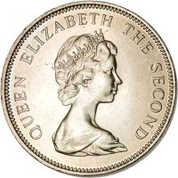 obverse of 10 Pence - Elizabeth II - Larger; 2'nd Portrait (1974 - 1992) coin with KM# 5.1 from Falkland Islands. Inscription: QUEEN ELIZABETH THE SECOND