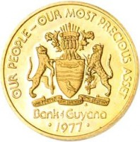 obverse of 1 Cent - 10th Anniversary of Independence: Manatee Faith (1976 - 1980) coin with KM# 37 from Guyana. Inscription: OUR PEOPLE-OUR MOST PRECIOUS ASSET ONE PEOPLE ONE NATION ONE DESTINY FM Bank of Guyana · 1977 ·
