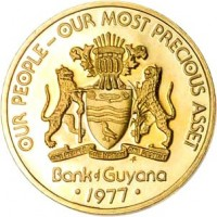 obverse of 5 Cents - 10th Anniversary of Independence: Jaguar Purpose (1976 - 1980) coin with KM# 38 from Guyana. Inscription: OUR PEOPLE - OUR MOST PRECIOUS ASSET ONE PEOPLE ONE NATION ONE DESTINY f Bank of Guyana • 1977 •