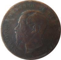 obverse of 10 Centesimi - Vittorio Emanuele II (1862 - 1867) coin with KM# 11 from Italy. Inscription: VITTORIO EMANUELE II RE D'ITALIA FERRARIS