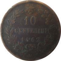 reverse of 10 Centesimi - Vittorio Emanuele II (1862 - 1867) coin with KM# 11 from Italy. Inscription: 10 CENTESIMI 1867 T