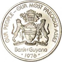 obverse of 10 Cents - 10th Anniversary of Independence: Squirrel Monkey Cooperative Economics (1976 - 1980) coin with KM# 39 from Guyana. Inscription: OUR PEOPLE - OUR MOST PRECIOUS ASSET ONE PEOPLE ONE NATION ONE DESTINY FM Bank of Guyana · 1976 ·