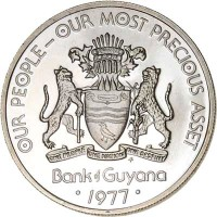 obverse of 50 Cents - 10th Anniversary of Independence: Hoatzin Creativity (1976 - 1980) coin with KM# 41 from Guyana. Inscription: OUR PEOPLE-OUR MOST PRECIOUS ASSET ONE PEOPLE ONE NATION ONE DESTINY FM Bank of Guyana · 1977 ·