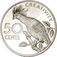 reverse of 50 Cents - 10th Anniversary of Independence: Hoatzin Creativity (1976 - 1980) coin with KM# 41 from Guyana. Inscription: CREATIVITY 50 CENTS