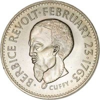 reverse of 1 Dollar - FAO (1970) coin with KM# 36 from Guyana. Inscription: BERBICE REVOLT FEBRUARY 23 1763 CUFFY
