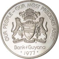 obverse of 1 Dollar - 10th Anniversary of Independence: Caiman Endurance (1976 - 1980) coin with KM# 42 from Guyana. Inscription: OUR PEOPLE-OUR MOST PRECIOUS ASSET ONE PEOPLE ONE NATION ONE DESTINY FM Bank of Guyana · 1977 ·