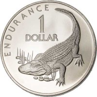 reverse of 1 Dollar - 10th Anniversary of Independence: Caiman Endurance (1976 - 1980) coin with KM# 42 from Guyana. Inscription: ENDURANCE 1 DOLLAR