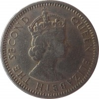 obverse of 25 Mils - Elizabeth II (1955) coin with KM# 35 from Cyprus. Inscription: QUEEN ELIZABETH THE SECOND
