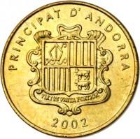 obverse of 5 Cèntims - Joan Martí i Alanis - Squirrel (2002) coin with KM# 180 from Andorra. Inscription: PRINCIPAT D'ANDORRA VIRTUS UNITA FORTIOR 2002