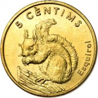 reverse of 5 Cèntims - Joan Martí i Alanis - Squirrel (2002) coin with KM# 180 from Andorra. Inscription: 5 CÈNTIMS Esquirol