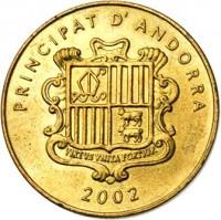 obverse of 5 Cèntims - Joan Martí i Alanis - Western Capercaillie (2002) coin with KM# 181 from Andorra. Inscription: PRINCIPAT D'ANDORRA VIRTUS VNITA FORTIOR 2002