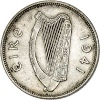 obverse of 1 Florin (1939 - 1943) coin with KM# 15 from Ireland. Inscription: eiRe 1941