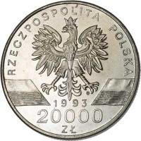 obverse of 20000 Złotych - Animals of the World: Swallow (1993) coin with Y# 243 from Poland. Inscription: RZECZPOSPOLITA POLSKA 1993 20000 ZŁ