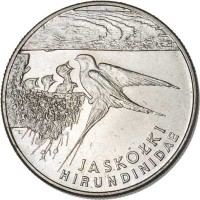 reverse of 20000 Złotych - Animals of the World: Swallow (1993) coin with Y# 243 from Poland. Inscription: JASKÓŁKI HIRUNDINIDAE