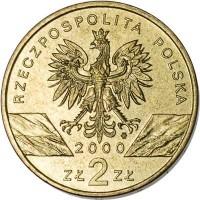 obverse of 2 Złote - Animals of the World: Hoopoe (2000) coin with Y# 388 from Poland. Inscription: RZECZPOSPOLITA POLSKA 2000 ZŁ 2 ZŁ